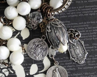 RENAISSANCE Charm Necklace. Sterling Silver Antique Medals. Mother of Pearl Rosary Chain. Rhinestones. One Of A Kind Artisan Assemblage