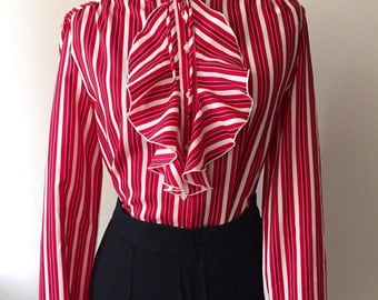 Vintage 1970s 80s Ship n Shore Striped Candy Cane Blouse xmas holiday