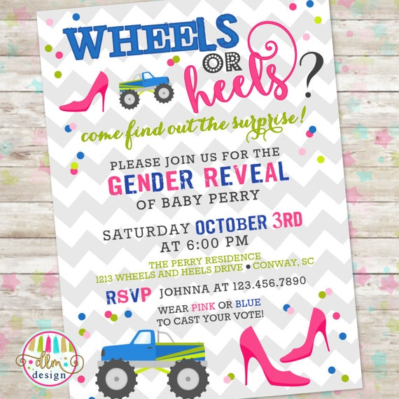 Wheels or Heels Gender Reveal Invite, Gender Reveal Invitation, DIY Printable File, Sex Reveal ...