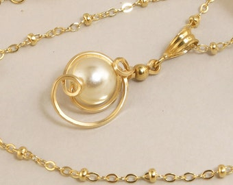 White Pearl Drop Pendant Necklace, Pearl Gold Chain Necklace,14k Gold Filled Chain Necklaces