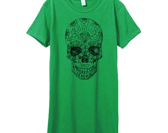 SALE - Womens Day Of The Dead Tshirt - DIAMOND - Green Womens Mexican Candy Skull - In Small, Medium, Large and XL - Eco Fashion