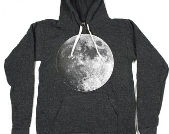 Moon Hoodie -Mens/Unisex Pullover Hoodie - Full Moon Hoodie -  Small, Medium, Large, XL - Eco Friendly Clothing