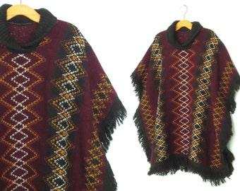 70s Poncho * Vintage 1970s Poncho * Fringe Knit Serape * OS