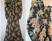 1970s Maxi Dress, Empire Waist, Leg of Mutton Sleeves, Floral Print Polyester, Small, Romantic Hippie, Boho, Extra Small