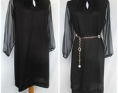1970s Black Dress, Sheer Sleeves, Cocktail, Polyester, Plus Size, Large