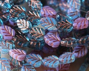 Czech Glass Leaf Beads - Jewelry Making Supplies - Czech Glass Beads - 8x12 (20 beads) Three Color Mix