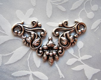 2 -Antiqued  silver plated floral connector stampings. - DB136