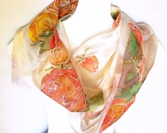 Hand painted silk scarf ponge ranunculus roses floral decorative wearable art silk scarf decorative gift 18 x 72 inch