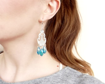 Crystal Dangle Earrings, Aqua Earrings, Long Chandelier Statement Earrings, Oriental Earrings