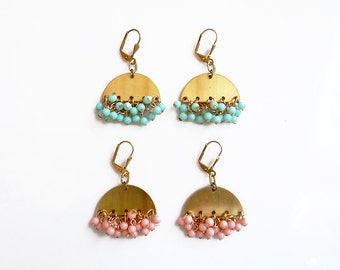 Boho Statement Earrings, Peach Mint Dangles Cluster Earrings, Brass Jewelry, Pink Earrings