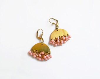 Peach Statement Earrings,  Dangle Cluster Earrings, Brass Jewelry, Pink Earrings