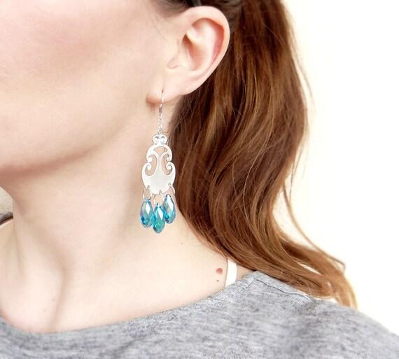 Crystal Dangle Earrings, Aqua Earrings, Chandelier Statement Earrings, Long Crystal Earrings