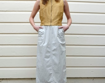 Vintage Minimalist Khaki 1990's Tan Cotton High Waisted Column Midi Skirt S 27