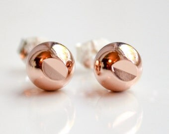 Rose Gold Stud Earrings - Pastel Pink Faceted Sparkly Studs - Rose Gold Earrings - Diamond Cut Out Everyday Earrings by Hook and Matter NY