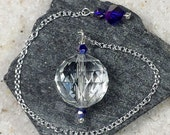 Clear Crystal Faceted Sphere Pendulum, w/ Czech Glass Beads, Transparent, SSP35