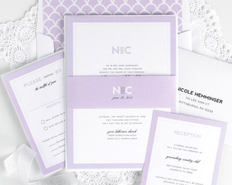 Purple Wedding Invitations - Unique, Romantic Wedding Invites - Lilac, Scallops, Monogram, Borders, Modern Initials Wedding Invitations