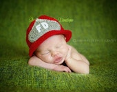 Crochet Baby Fireman Helmet, Made to Order, Newborn, 0-3, 3-6 Months, Photo Prop, Photography Prop, Shower Gift, Christmas, Firefighter Hat
