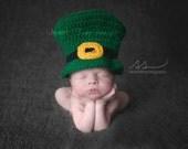 Crochet Newborn, 0-3 Months, 3-6 Months, Irish Baby Leprechaun Top Hat, Custom, Photo Prop, Photography Prop, Shower Gift, St Patrick's Day
