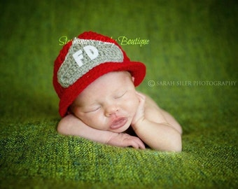 Crochet Baby Fireman Helmet, Made to Order, Newborn, 0-3, 3-6 Months, Photo Prop, Photography Prop, Shower Gift, Christmas, Firefighter Hat