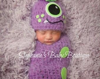 Crochet Newborn Baby Boy/Girl Monster Swaddle & Hat Set, Photo Prop, Photography Prop, Halloween, Cocoon, Shower Gift, Costume, U Pick Color