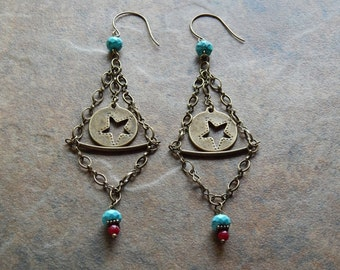 Big boho star statement earrings large turquoise and red celestial southwest style chandelier earrings super long dangle statement earrings