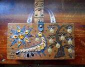 ENID COLLINS 1960s 60s Collins of Texas Signed Money Tree II Wood Purse Handbag Gem Studded Pheasant Bird