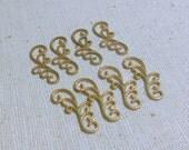 Raw Brass Filigree Scroll/Ornaments R and L  (8) Steampunk, Patina, Delicate