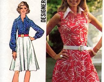 1970s Shirtdress Pattern - Vintage Simplicity 5619 - Bust 32