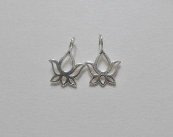 Handmade Sterling Silver Lotus Pendant Charm - PC-0070