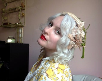 Pale Pink and Olive Green Velvety Floral Head Band Fascinator WOO HOO