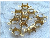1 or 2 Ring 8x6 Oval Brass Prong Rhinestone Setting Dangle