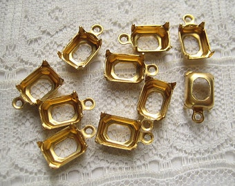 1 or 2 Ring 8x6 Octagon Brass Prong Rhinestone Setting Dangle Qty 10