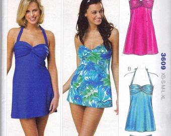 Kwik Sew 3609 Womens Swimsuit Swim Dress Bathing Suit Sewing Pattern Size X small - X Large UNCUT Factory Folds