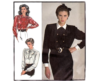 80s Double Breasted Blouse Pattern Style 1093 Vintage Sewing Pattern Size 10 12 14
