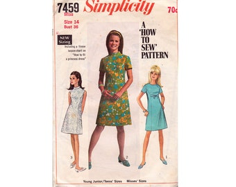 60s Shift Dress Pattern Simplicity 7459 Vintage Sewing Pattern Princess Seams High Neck Size 14 Bust 36 inches