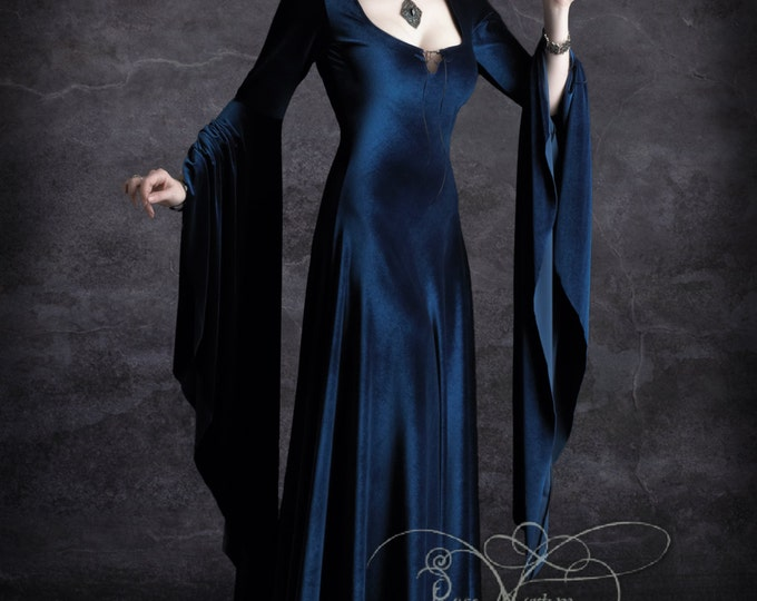 Aislinn Hooded Vampire Dress - Handmade Bespoke Dark Romantic Gothic Couture by Designer Rose Mortem