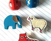 Vintage Wooden animals and ladybug magnets refrigerator red white and blue