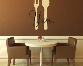 Yum Fork and Spoon Vinyl Wall Decal - Kitchen Wall Decal - Kitchen Vinyl Wall Decal - Ready to eat fork and spoon kitchen vinyl wall decal