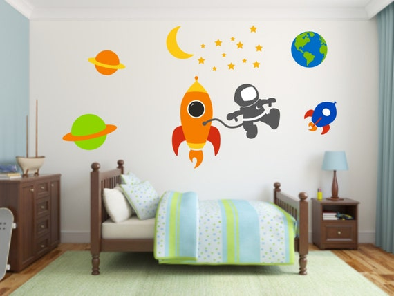 Space themed vinyl wall decal set outer space vinyl wall for Outer space vinyl wall decals