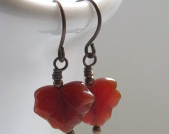 Autumn Leaf Earrings - Red Czech Glass Maple Leaves and Antiqued Copper