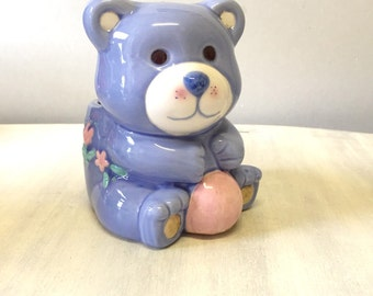 Cute blue bear china nursery planter, bear planter, ceramic planter, blue planter, teddy bear plant pot, china plant pot, nursery decor