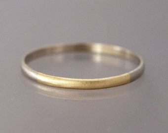 Two Tone Gold Thin Wedding Band - Solid 14k gold 1.5mm Half Round Round Married Ring in a mix of white yellow or rose gold