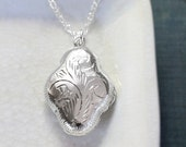 Small Sterling Silver Locket Necklace, Vintage Double Side Engraved Pendant - Soft Motif