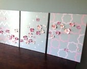Custom Paintings for Nursery, Pink and Gray