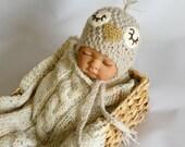 Newborn photo prop, newborn hat, newborn boy, newborn girl, knit newborn hat, newborn props, Sleepy birdie hat in newborn size.