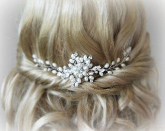 Pearl and Crystal Hair Vine, Boho Hair Vine, Ivory Pearl Hair Jewelry, Hair Piece, Head Piece - THEA