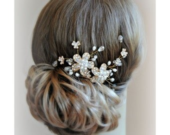 Gold Hair Vine, Bridal Comb, Crystal and Pearl Wedding Hair Flowers, Fascinator - AURA