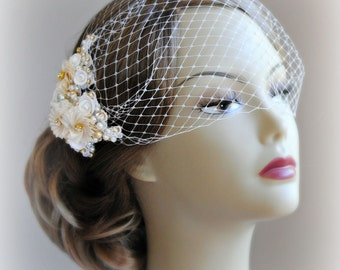 Ivory & Gold Birdcage Veil and Fascinator, Bridal Fascinator and Bird Cage Bandeau Veil with Rhinestones, Pearls, Vintage Style  - JOSETTE