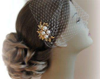 Birdcage Veil and Gold Comb Set, Bandeau Veil, Bird Cage Veil With Ivory Pearl and Crystal Comb - MADELEINE
