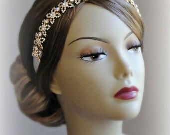 Gold Crystal Headband, rhinestone Bridal Headband, Wedding Head Piece - BELLA